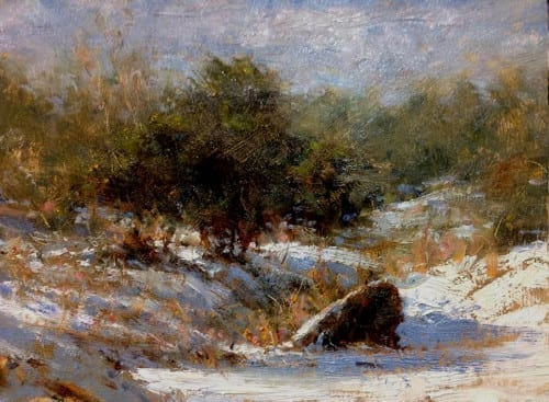 Snow in the Meadow 9x12 oil.2
